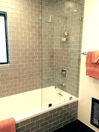 shower surround trim bathtubs amazing use of the smoke glass subway tile in the shower surround