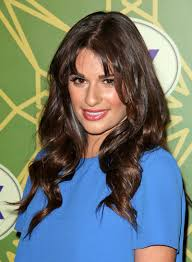 lea michele long curly party brunette hairstyle with bangs