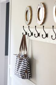 Decorative Wall Mounted Coat Rack Furniture White Entryway Wall Mount Coat Rack With Black Hooks And 5