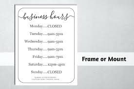 Hours Of Operation Template Free Hours Sign Template Homeish Co