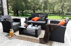Baner Garden (N87) 4 Pieces Outdoor Furniture Complete Patio Set Best Conversation Sets! Living Room