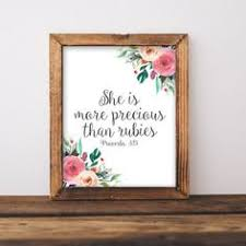 <b>Bible</b> verse, Proverbs 31:10, <b>nursery wall art</b>, She is more precious ...