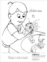 spanish coloring pages page vector of person in a hat hand washing free c