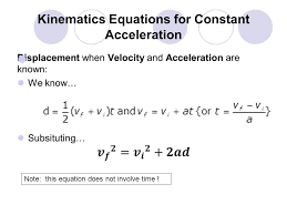 8 kinematics equations for constant acceleration note this equation does not involve time