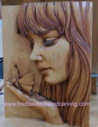 Wood Carving Dremel Relief Woodcarving By Fred Zavadil Girl With A Butterfly
