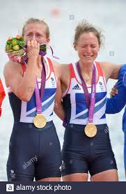 Eton Dorney, Windsor, Great Britain, 2012 London Olympic Regatta, Dorney  Lake. Eton Rowing Centre, Berkshire. Dorney Lake. GBR LW 2X Gold Medalist,  Bow. Kat COPELAND and Sophie HOSKING 12:36:11 Saturday 04/08/2012 [Mandatory