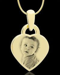 baby image name engraved pendant in gold