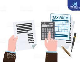 Closeup Hand Businessman Calculation Tax Symbol Of Taxation Tax Form ...