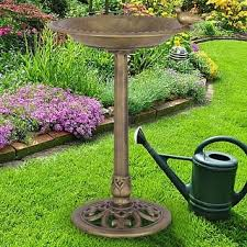 outdoor garden decor. costway antique gold freestanding pedestal bird bath feeder outdoor garden yard decor