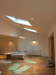 Pitched Roof Lighting Solutions Edison Pendent Industrial Lights Alongside Spotlights On A