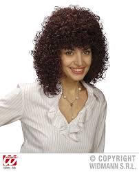 Ladies Brown Curly Perm Wig Poodle Hair 70 S Fancy Dress Ebay