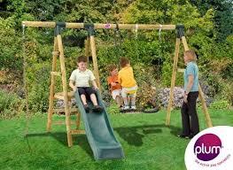 plum meerkat wooden garden swing set
