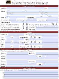 Cook Brothers Job Application | Printable Job Application