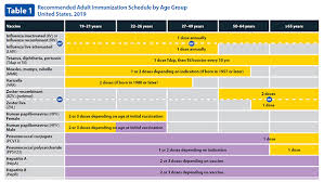 Age Chart For Shots Adult Immunization Schedule By Vaccine And Age Group Cdc