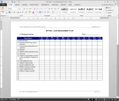 Management Plan Template Lead Management Plan Template 1