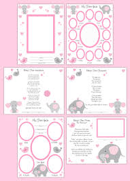 Baby Girl Memory Book First Year Scrapbook Page Layout Art Print