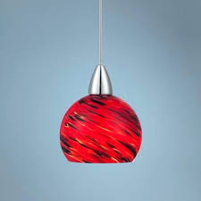 red glass pendant light shades fixture kitchen lighting art drum