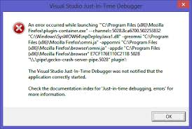 Error when use vs just-in-time debugger on Firefox plugin-container ...