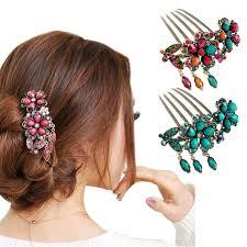 <b>1PCS Fashion Women Hair</b> Accessory Retro Rhinestone Petal Tuck ...