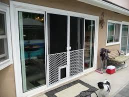 image of installing a dog door sliding door insert