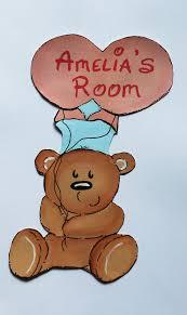 personalised childrens kids handmade wooden nursery door plaque teddy bear hugs