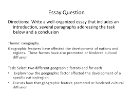 body paragraphs and citations essay question directions write a  2 essay question directions write a well organized essay that includes an introduction several paragraphs addressing the task below and a conclusion