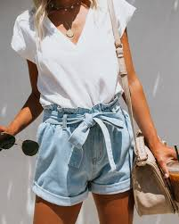 Light Shorts Outfit Preorder Lonestar Pocketed Paper Bag Waist Denim Shorts