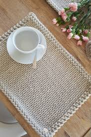 Designer Dining Table Mats Placemats Knitted Cotton Placemats Handmade Table Place
