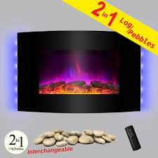 wall mounted electric fireplace heater best of akdy 36 wall mount 2 in 1 log and pebble style indoor