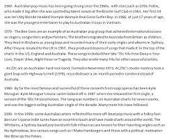 Australian Pop Charts Timeline Australian Music History 60s 90s