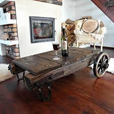 vintage industrial coffee table cart