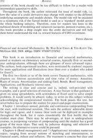 Financial And Actuarial Mathematics By Wai Sum Chan Yiu Kuen Tse