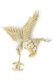 chanel pin. chanel rhinestone eagle pin