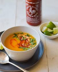 thai style ernut squash soup with