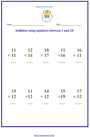 Addition up to 20 Worksheets | Kids Activities