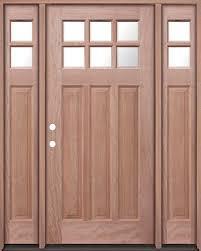 6 lite craftsman mahogany prehung wood door unit with sidelites um43