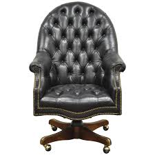 office leather chair. Vintage Deep Tufted Black Leather English Chesterfield Style Office Desk Chair For Sale At 1stdibs P