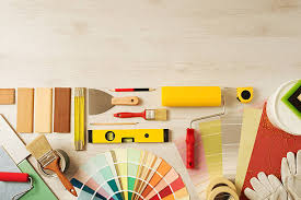 ... Decorator's work table with tools stock photo ...