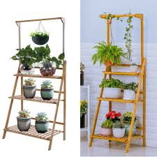 3 tier wood flower plant pot shelf stand display ladder garden outdoor uk stock for