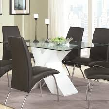 amazing glass top dining table with white x pedestal coaster furniture inside pedestal table with glass top popular