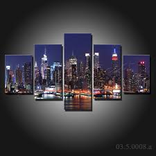 03 5 0008 a jpg on canvas wall art new york city with 5 pieces large canvas painting new york city at night canvas prints