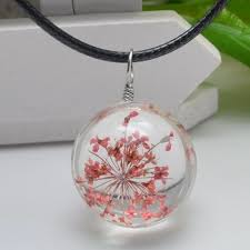 chic dried flower heady glass ball pendant necklace