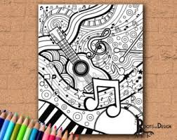 Free printable coloring pages for kids! Guitar Coloring Page Etsy