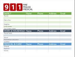 Emergency List Bold Emergency Contact List