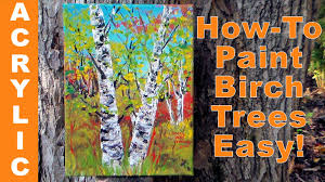 how to paint birch trees quickly with acrylics a palette knife you