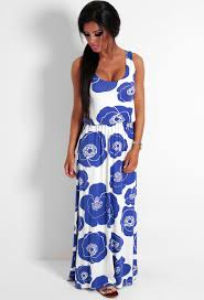 Splendour Blue And White Floral Maxi Dress Pink Boutique