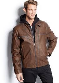 calvin klein hooded faux leather moto jacket