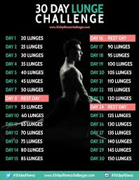 24 Day Challenge Chart Workouts Plans 30 Day Lunge Challenge Fitness Workout