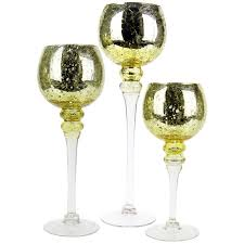 set of 3 metallic gold le mercury glass candle holders glass vases depot