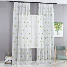 Bestickte Vorhänge Grün Schiere Stoffe Tüll Vorhang Fenster